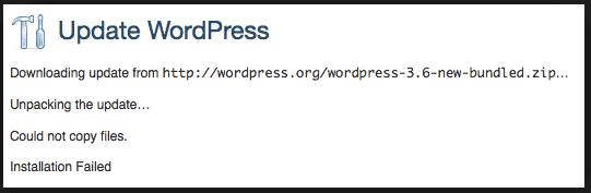 WordPress Update Failed