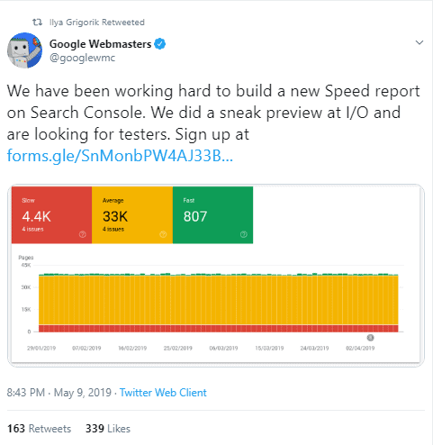 GSC speed dashboard