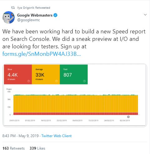GSC speed dashboard