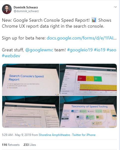 Google search console report