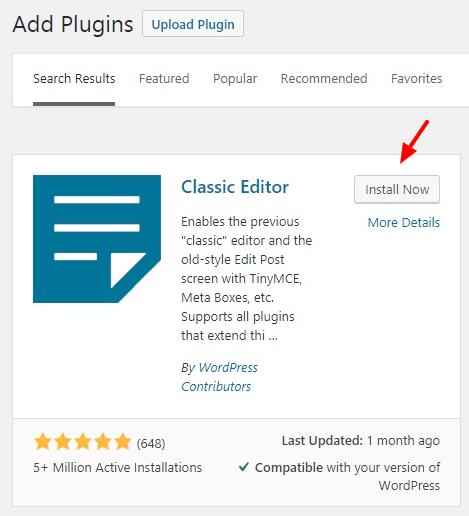 Classic Editor Installation